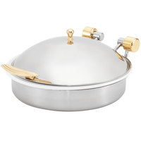 Vollrath 46120 6 qt. Intrigue Solid Top Round Induction Chafer with Brass Trim and Porcelain Food Pan