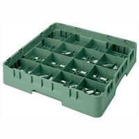 Cambro 16S534119 Camrack 6 1/8 inch High Sherwood Green 16 Compartment Glass Rack