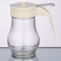 Tablecraft 406A 6 oz. Glass Teardrop Syrup Dispenser with Almond ABS Top - 12/Pack