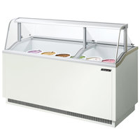 Turbo Air TIDC-70W White 70 inch Ice Cream Freezer Dipping Cabinet with Low Curved Glass - 16.07 Cu. Ft.