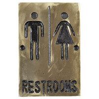 Tablecraft 465633 Bronze Unisex Restrooms Sign 6 inch x 4 inch