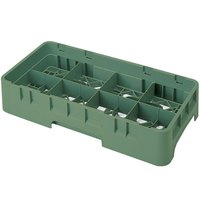 Cambro 8HS638119 Sherwood Green Camrack 8 Compartment 6 7/8 inch Half Size Glass Rack