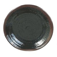 Tenmoku Black 7 1/2 inch Round Melamine Plate - 12 / Pack