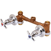 T&S B-1035-ST Concealed Bypass Mixing Valve with 1/2 inch NPT Female Union Inlets, 1/2 inch NPT Female Bottom Outlet, Four Arm Handles, and Loose Key Stop