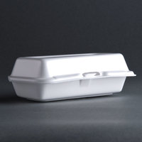 Dart Solo 72HT1 7 inch x 4 inch x 2 inch White Foam Hinged Lid Hot Dog Container 125 / Pack