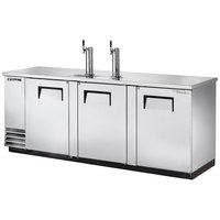 True TDD-4-S 90 inch Stainless Steel Four Keg Direct Draw Kegerator Beer Dispenser with Two Taps