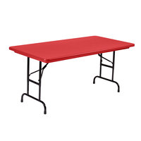 Correll R-Series RA3060 30 inch x 60 inch Red Plastic Adjustable Height Folding Table - Standard Legs