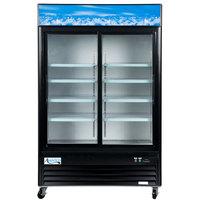 "Avantco GDS47 53"" Black Sliding Glass Door Merchandiser Refrigerator with LED Lighting - 45 cu. ft."