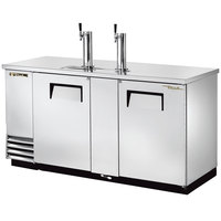 True TDD-3-S 70 inch Stainless Steel Three Keg Direct Draw Beer Dispenser with Two Taps