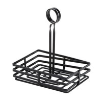American Metalcraft FWC68 Flat Coil Square Wrought Iron Condiment Basket – 8 inch x 6 inch x 9 1/2 inch