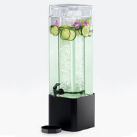 Cal Mil 1112-3A-13 3 Gallon Mission Square Acrylic Beverage Dispenser with Black Metal Base - 7 inch x 7 inch x 26 1/2 inch
