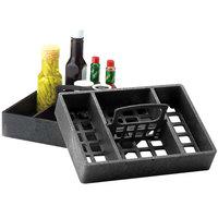 HS Inc. HS1046 7 inch x 10 inch Charcoal Polyethylene 4 Bin Tabletop Condiment Organizer - 12 / Case