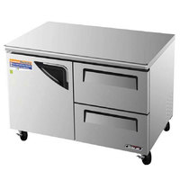 Turbo Air TUF-48SD-D2 Super Deluxe 48 inch Undercounter Freezer with One Door and Two Drawers - 12 Cu. Ft.