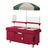 Cambro CamKiosk KVC856U158 Hot Red Vending Cart with 6 Pan Wells and Umbrella