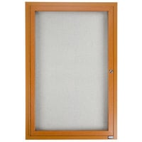 Aarco 36 inch x 24 inch Oak Finish Lighted Bulletin Board Cabinet