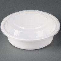 16 oz. White 6 inch Round Microwavable Container with Lid - 150 / Case