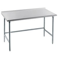 16 Gauge Advance Tabco TFAG-242 24 inch x 24 inch Super Saver Commercial Work Table with 1 1/2 inch Backsplash