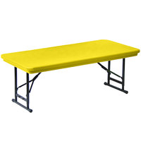 Correll R-Series RA3060S 30 inch x 60 inch Yellow Plastic Adjustable Height Folding Table - Short Legs