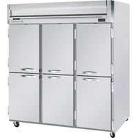 Beverage Air HR3-1HS 3 Section Solid Half Door Reach-In Refrigerator - 74 cu. ft., Stainless Steel Front, Gray Exterior