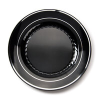 Fineline Silver Splendor 507BKS Black 7 inch Plastic Plate with Silver Bands - 150 / Case