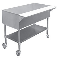 APW PWT-5S 22 1/2 inch x 79 inch Mobile Stainless Steel Work-Top Counter with Cutting Board and Stainless Steel Undershelf