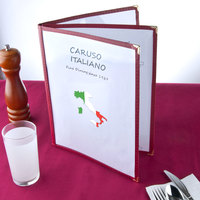 8 1/2 inch x 11 inch Burgundy Three Pocket Menu Cover