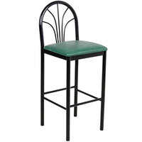 Lancaster Table & Seating Fan Back Bar Height Cafe Chair with 2 inch Green Padded Seat
