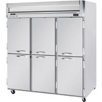 Beverage Air HFP3-5HS 3 Section Solid Half Door Reach-In Freezer - 74 cu. ft., Stainless Steel Exterior