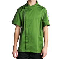 Chef Revival J020MT-M Cool Crew Fresh Size 42 (M) Mint Green Customizable Chef Jacket with Short Sleeves and Hidden Snap Buttons - Poly-Cotton