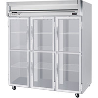 Beverage Air HFP3-5HG-LED 3 Section Glass Half Door Reach-In Freezer - 74 cu. ft., Stainless Steel Exterior