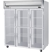 Beverage Air HFP3-5HG 3 Section Glass Half Door Reach-In Freezer - 74 cu. ft., Stainless Steel Exterior