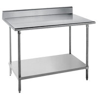 Advance Tabco KMG-246 24 inch x 72 inch 16 Gauge Stainless Steel Commercial Work Table with 5 inch Backsplash and Undershelf