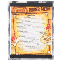 8 1/2 inch x 11 inch Menu Solutions ALSIN811-ST Single Panel Swirl Finish Aluminum Menu Board with Top and Bottom Strips