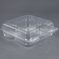 Durable Packaging PXT-933 9 inch x 9 inch x 3 inch Three Compartment Clear Hinged Lid Plastic Container 100 / Pack