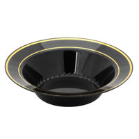 Fineline Silver Splendor 512-BKG Black 12 oz. Plastic Soup Bowl with Gold Bands - 150 / Case
