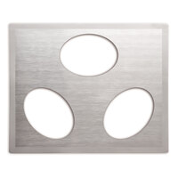 Vollrath Miramar 8250116 Stainless Steel Double Well Adapter Plate with Satin Finish Edge for Three Small Oval Pans
