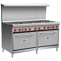 Cooking Performance Group 60-CPGV-10B-S26 Natural Gas 10 Burner 60 inch Range with Two 26 1/2 inch Standard Ovens