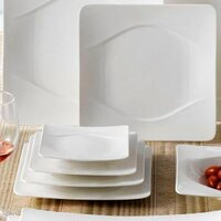 CAC MDN-8 Modern 8 1/2 inch New Bone White Square Porcelain Plate - 24/Case