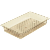 Cambro 13CLRHP150 H-Pan Full Size Amber High Heat Colander Pan - 3 inch Deep