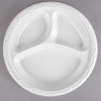 Genpak 73900 Aristocrat 9 inch White 3 Compartment Premium Plastic Plate   - 125/Pack