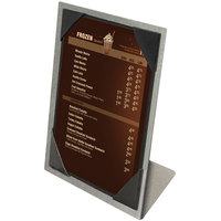 Menu Solutions MTPIX-57 Aluminum Menu Tent with Picture Corners - Brushed Finish - 5 inch x 7 inch