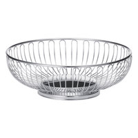 Tablecraft 4175 Large Round Chrome Basket - 9 3/4 inch x 3 1/4 inch