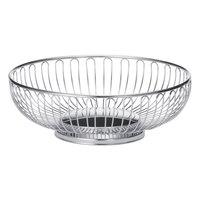 Tablecraft 4175 Large Round Chrome Basket - 9 3/4 inch x 3 1/4 inch