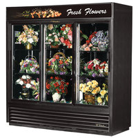 True GDM-69FC-LD Black Three Glass Sliding Door Floral Case - 69 Cu. Ft.