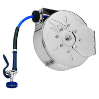 T&S B-7142-C08H 50' Enclosed Stainless Steel Hose Reel with JeTSpray Hi-Flow Spray Valve