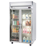 Beverage Air HFP2-1G-LED 2 Section Glass Door Reach-In Freezer with LED Lighting - 49 cu. ft., SS Exterior