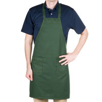 Choice Hunter Green Full Length Bib Apron with Pockets - 30 inchL x 34 inchW