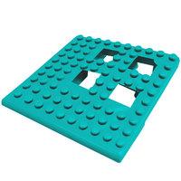 Cactus Mat 2554-TLC Dri-Dek 2 inch x 2 inch Teal Vinyl Interlocking Drainage Floor Tile Corner Piece - 9/16 inch Thick