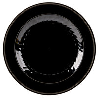 WNA Comet MP75BKGLD 7 1/2 inch Black Masterpiece Plate with Gold Accent Bands - 15 / Pack