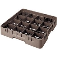Cambro 16S1058167 Camrack 11 inch High 16 Brown Compartment Glass Rack